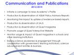 communication and publications 2013 2014