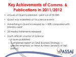 key achievements of comms publications in 2011 2012