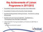key achievements of liaison programme in 2011 2012