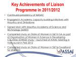 key achievements of liaison programme in 2011 20121
