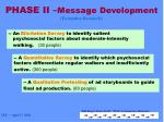 phase ii message development formative research