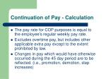 continuation of pay calculation