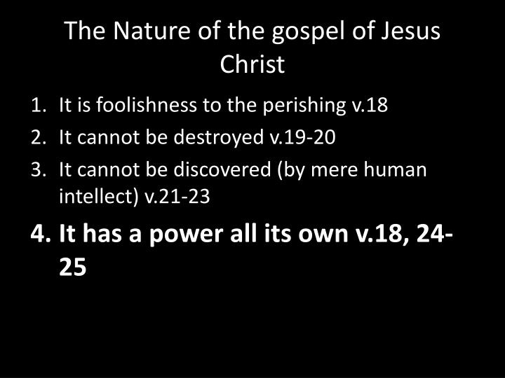 the nature of the gospel of jesus christ n.