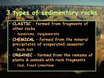 3 types of sedimentary rocks