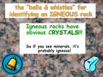 the bells whistles for identifying an igneous rock