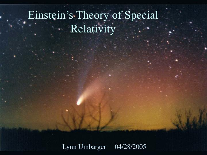 einstein s theory of special relativity n.