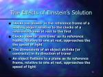 the effects of einstein s solution