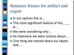 sentence frames for artifact and expert