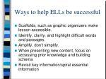 ways to help ells be successful