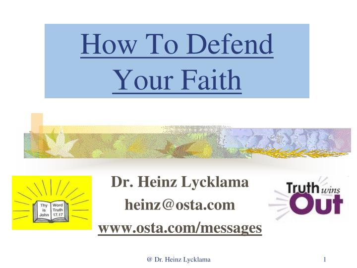 how to defend your faith n.