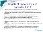targets of opportunity and focus for fy10