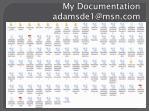 my documentation adamsde1@msn com