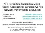 n 1 network simulation a mixed reality approach for wireless ad hoc network performance evaluation