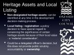 heritage assets and local listing