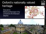 oxford s nationally valued heritage