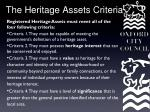 the heritage assets criteria
