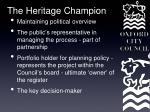 the heritage champion