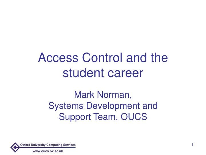 access control and the student career n.