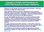 changes to policies and procedures for fy2013 nih awards to foreign institutions