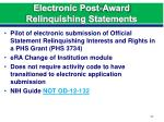 electronic post award relinquishing statements