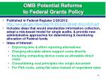 omb potential reforms to federal grants policy