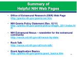 summary of helpful nih web pages