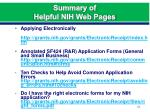 summary of helpful nih web pages1