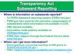 transparency act subaward reporting
