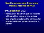 need to access data from many medical records hipaa1