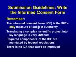 submission guidelines write the informed consent form