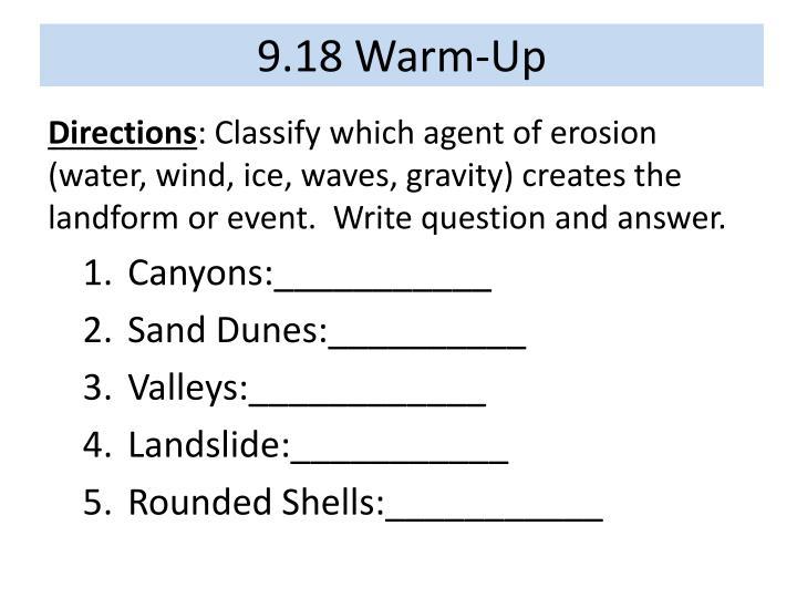 9.18 Warm-Up