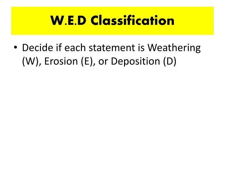 W.E.D Classification