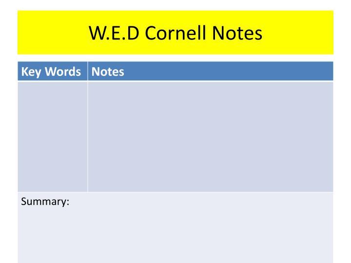 W e d cornell notes