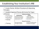 establishing your institution s irb