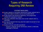 types of research requiring irb review