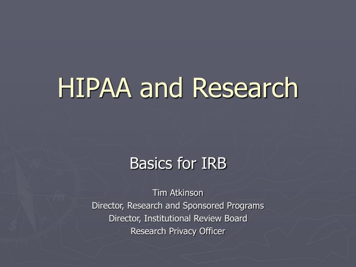 hipaa and research n.