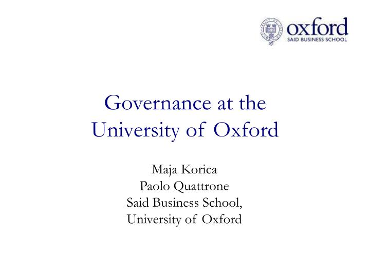 governance at the university of oxford n.