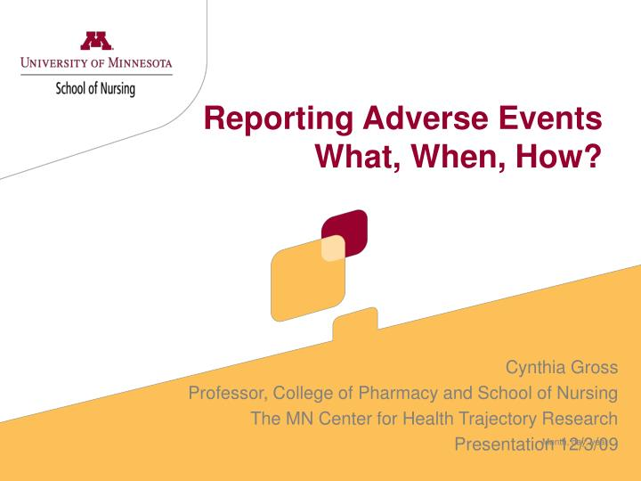 reporting adverse events what when how n.