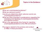 topics in the guidance