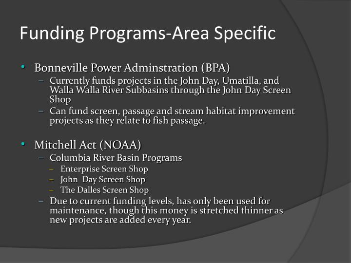 Funding programs area specific