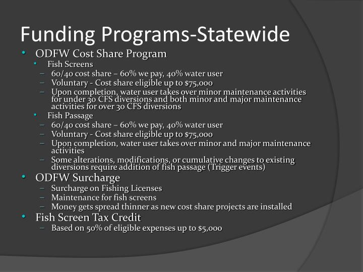 Funding programs statewide
