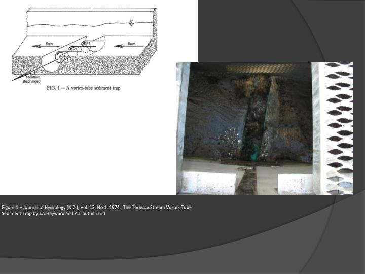 Figure 1 – Journal of Hydrology (N.Z.), Vol. 13, No 1, 1974,  The Torlesse Stream Vortex-Tube Sediment Trap by J.A.Hayward and A.J. Sutherland