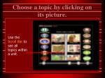 choose a topic by clicking on its picture
