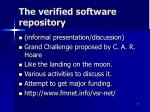 the verified software repository