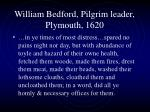 william bedford pilgrim leader plymouth 1620
