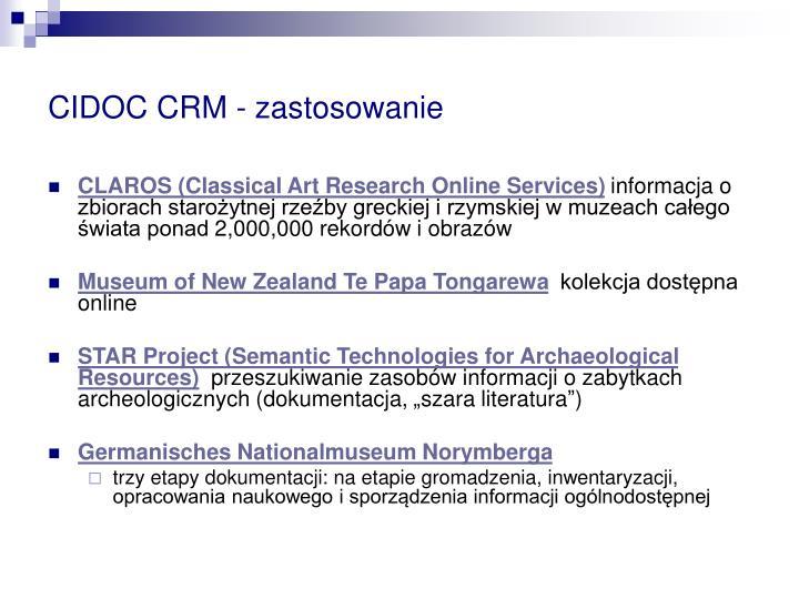 CIDOC CRM - zastosowanie