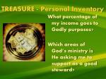 treasure personal inventory