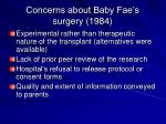 concerns about baby fae s surgery 1984