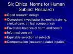 six ethical norms for human subject research