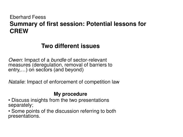 eberhard feess summary of first session potential lessons for crew n.